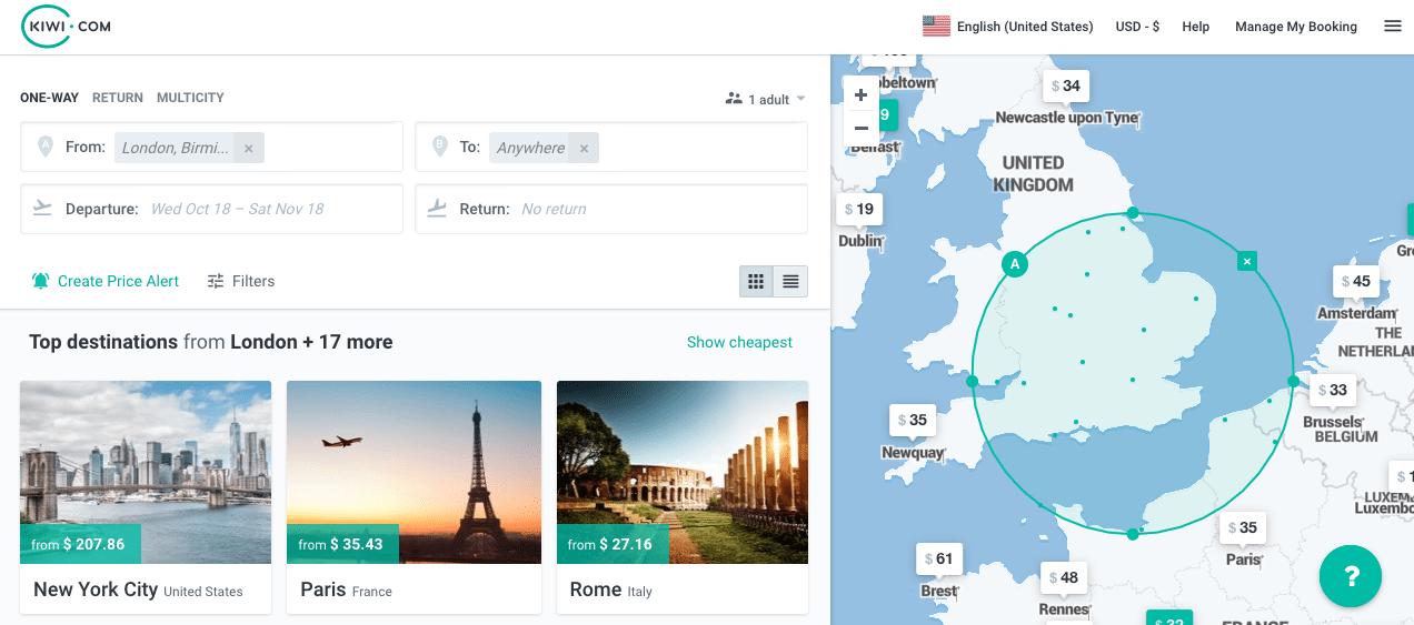 Kiwi.com Homepage - Think before booking with kiwi.com